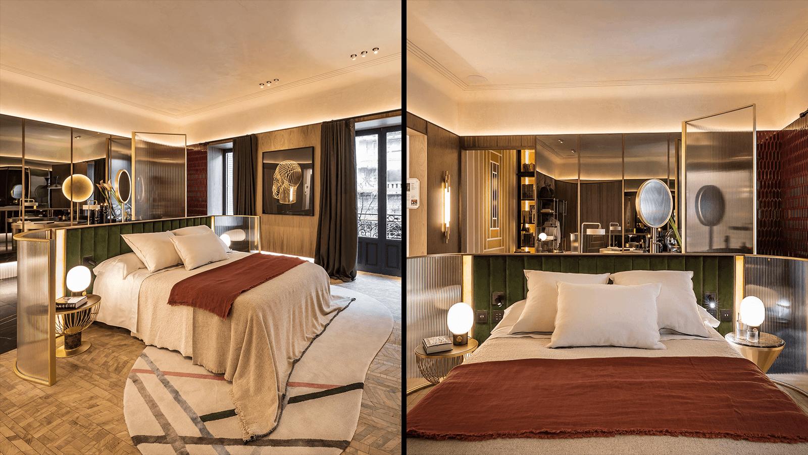 Bett mit Glaseinfassung in der Luxus-Hotelsuite für die Casa Decor.