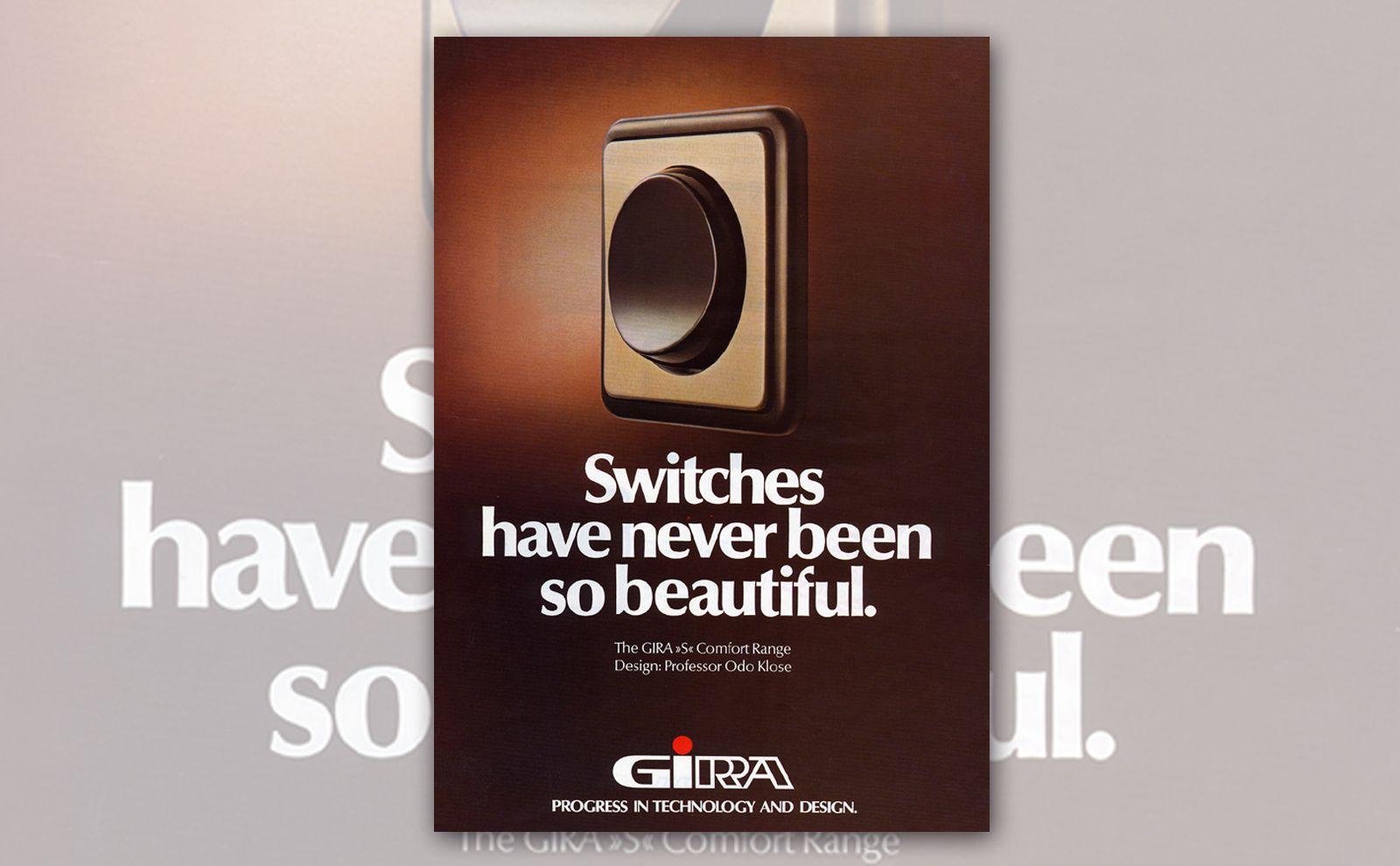 flacher Gira Sensorschalter auf einem Werbeplakat 1970