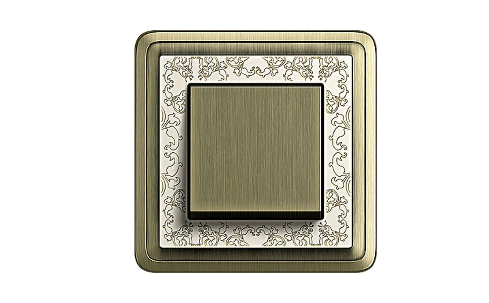 Wippschalter Gira ClassiX Bronze mit Rahmen Bronze-Cremeweiß