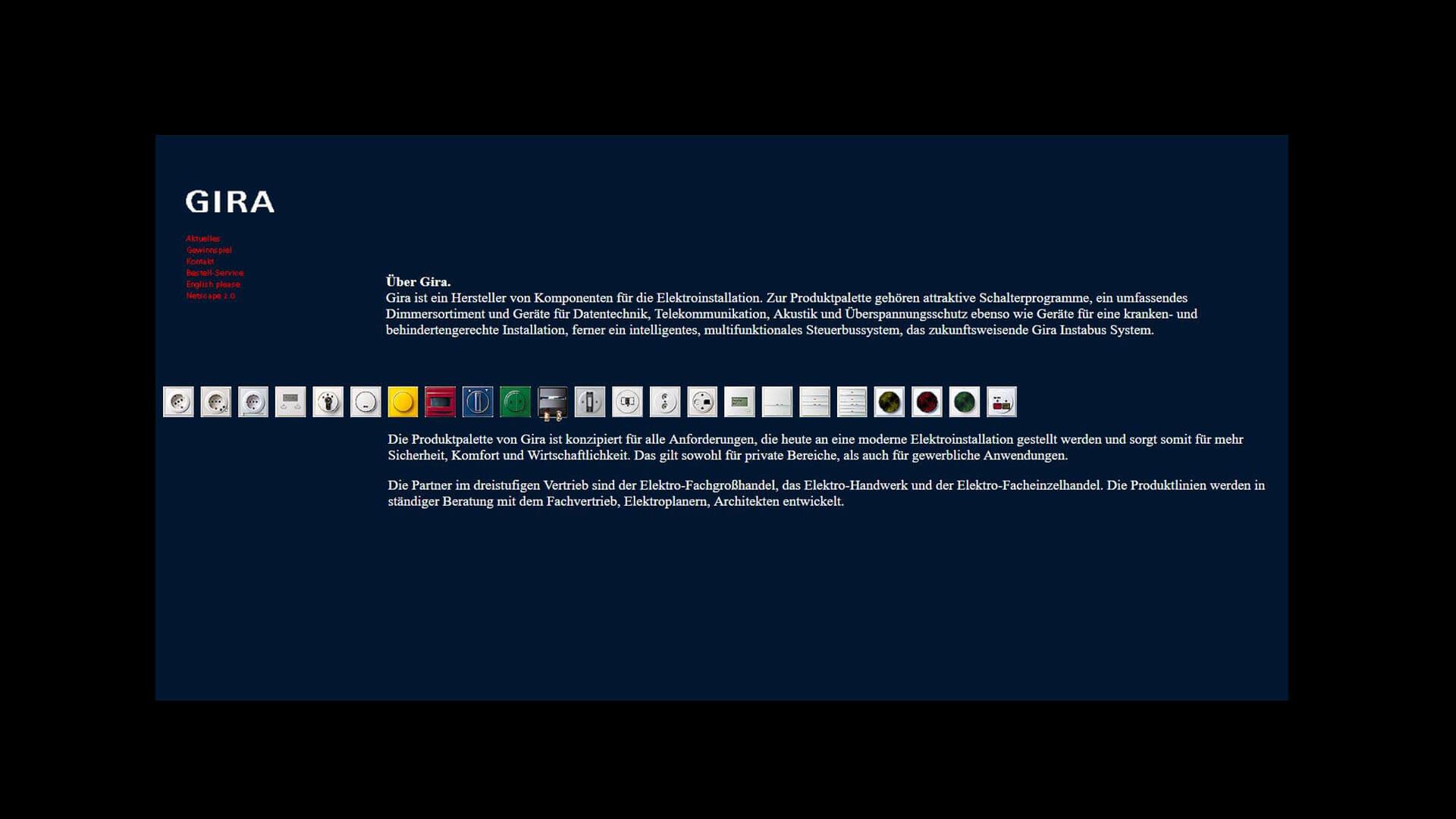 Gira Website aus dem Jahr 1996