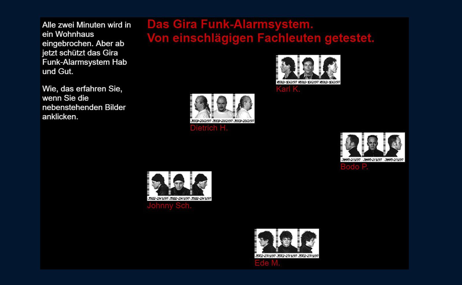 Gira Webseite zu Alarm Connect 1996