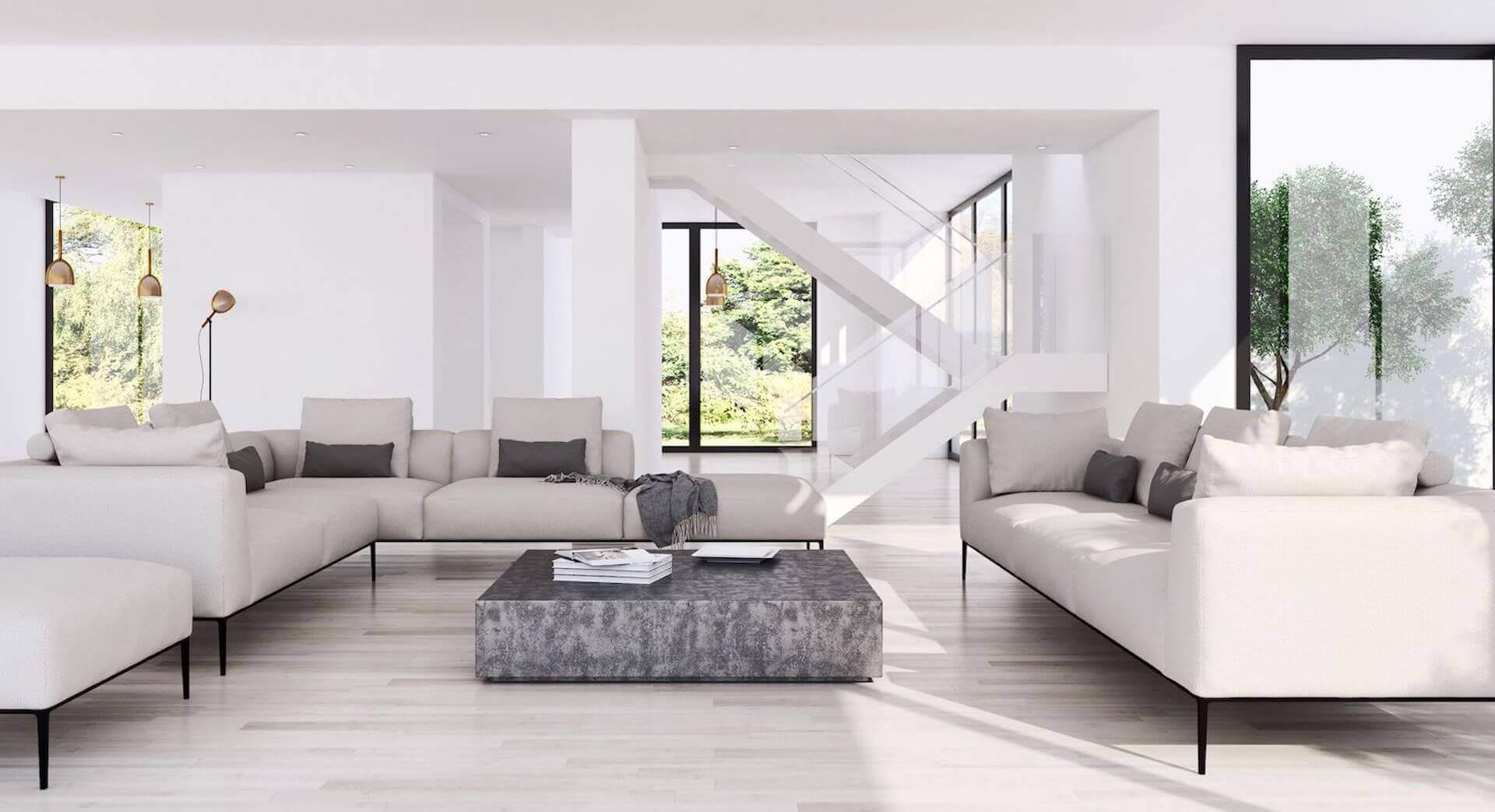 Gira, minimalistisch und hell eingerichtetes Wohnzimmer