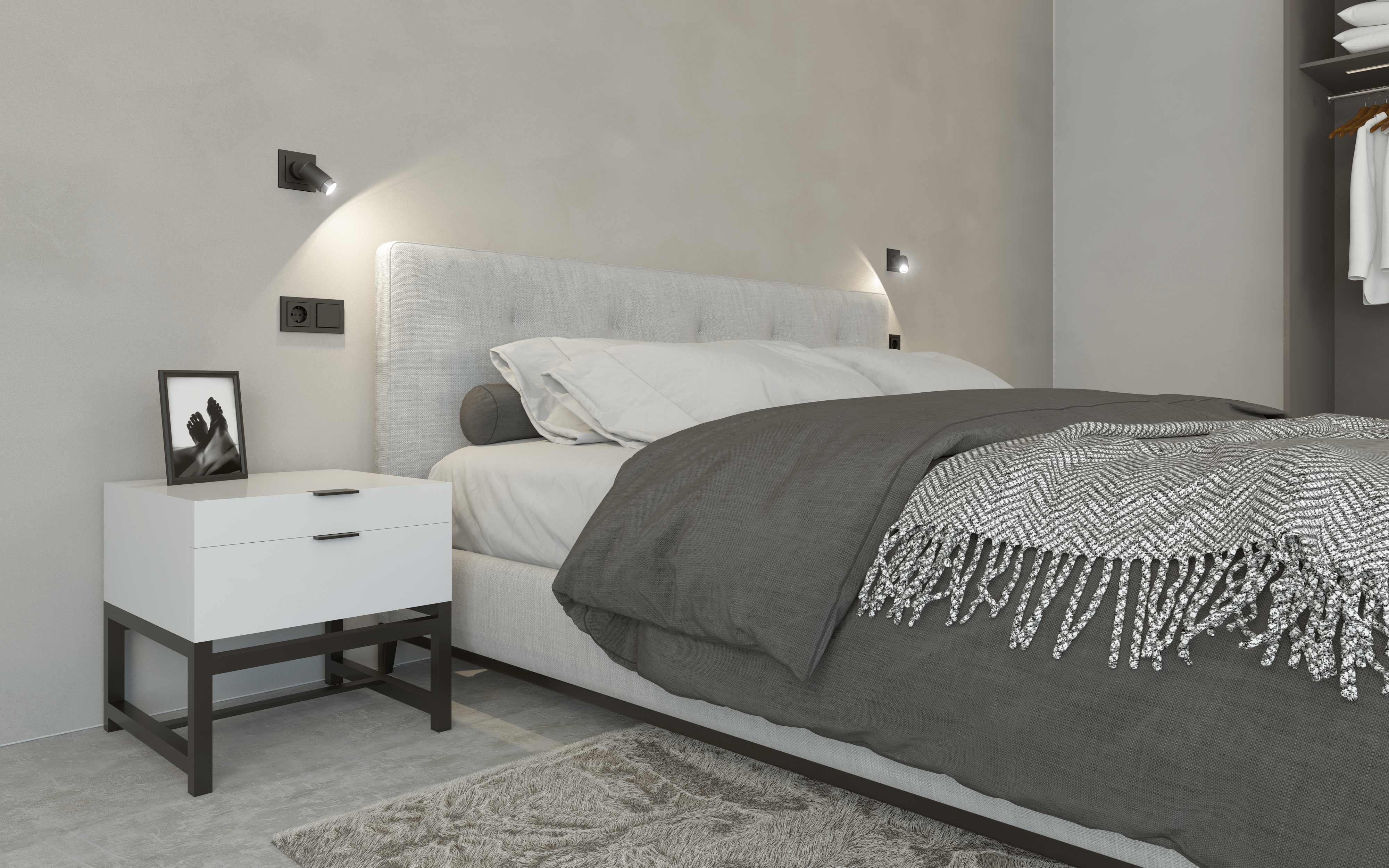 Gira Plug&Light neben dem Bett
