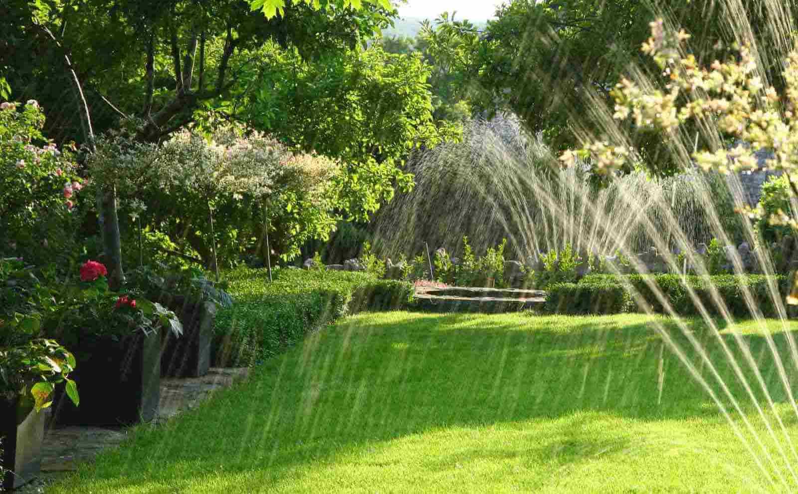 Garten mit Wiese und Bewässerung