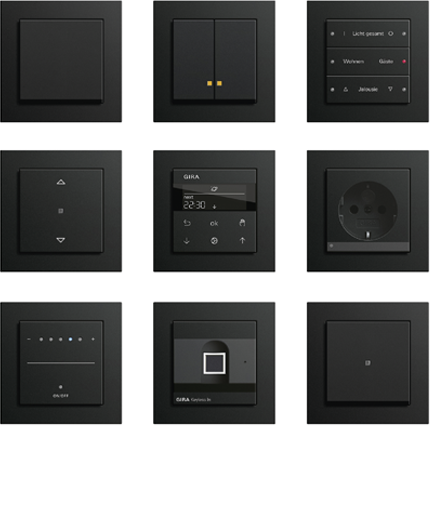 gira e2 schalterprogramm puristisches design langlebige. Black Bedroom Furniture Sets. Home Design Ideas