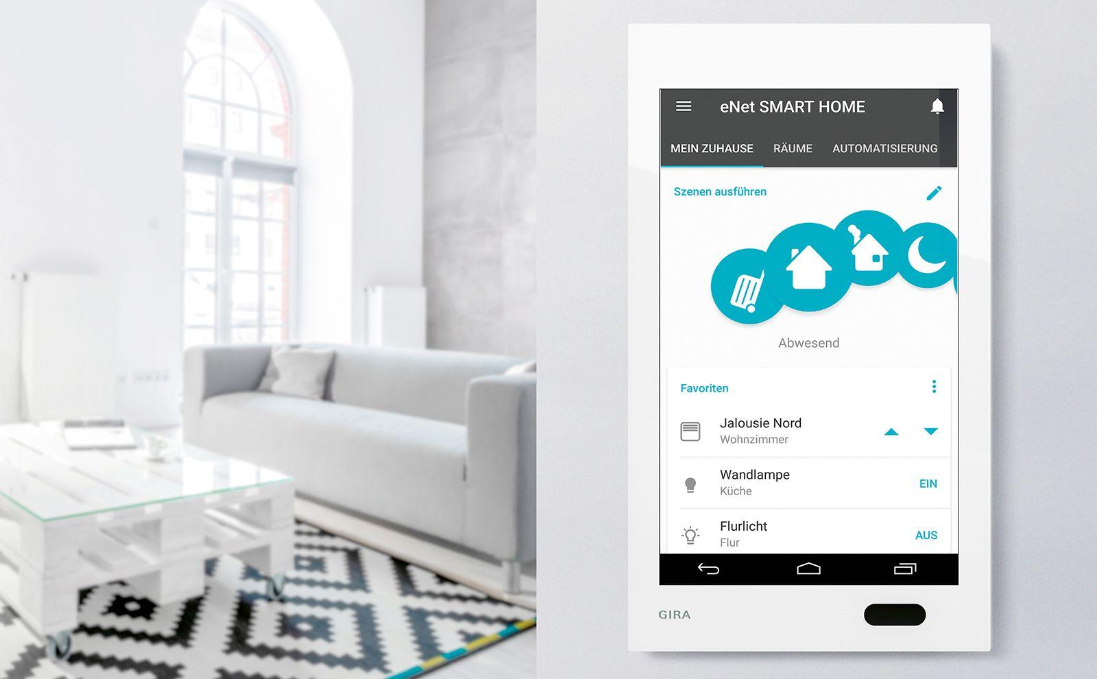 Gira G1 mit eNet Interface im Wohnzimmer