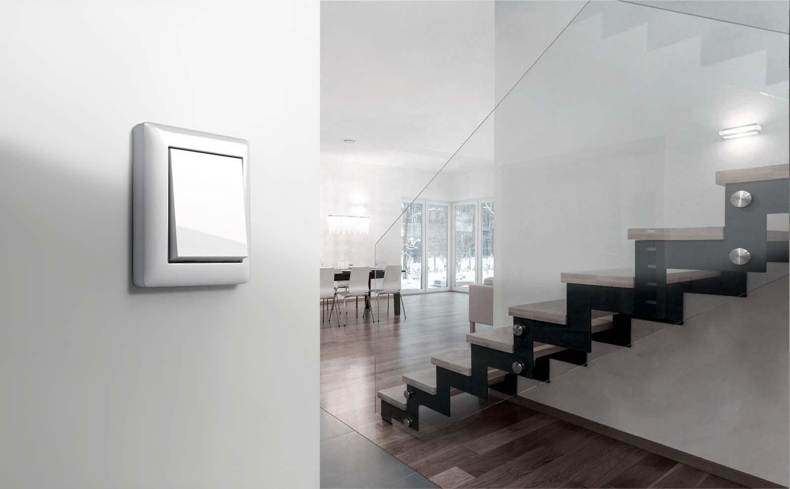 Gira Standard 55 Schalter Reinweiß glänzend Milieu