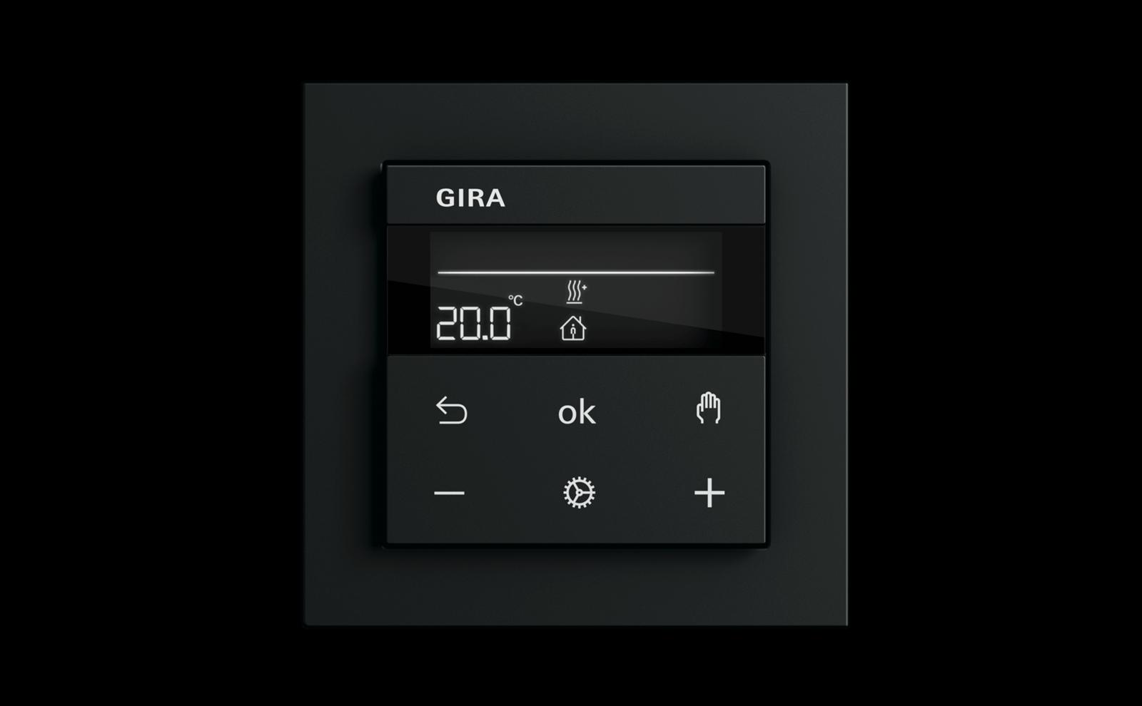 Gira System 3000 Heizungssteuerung in Schwarz
