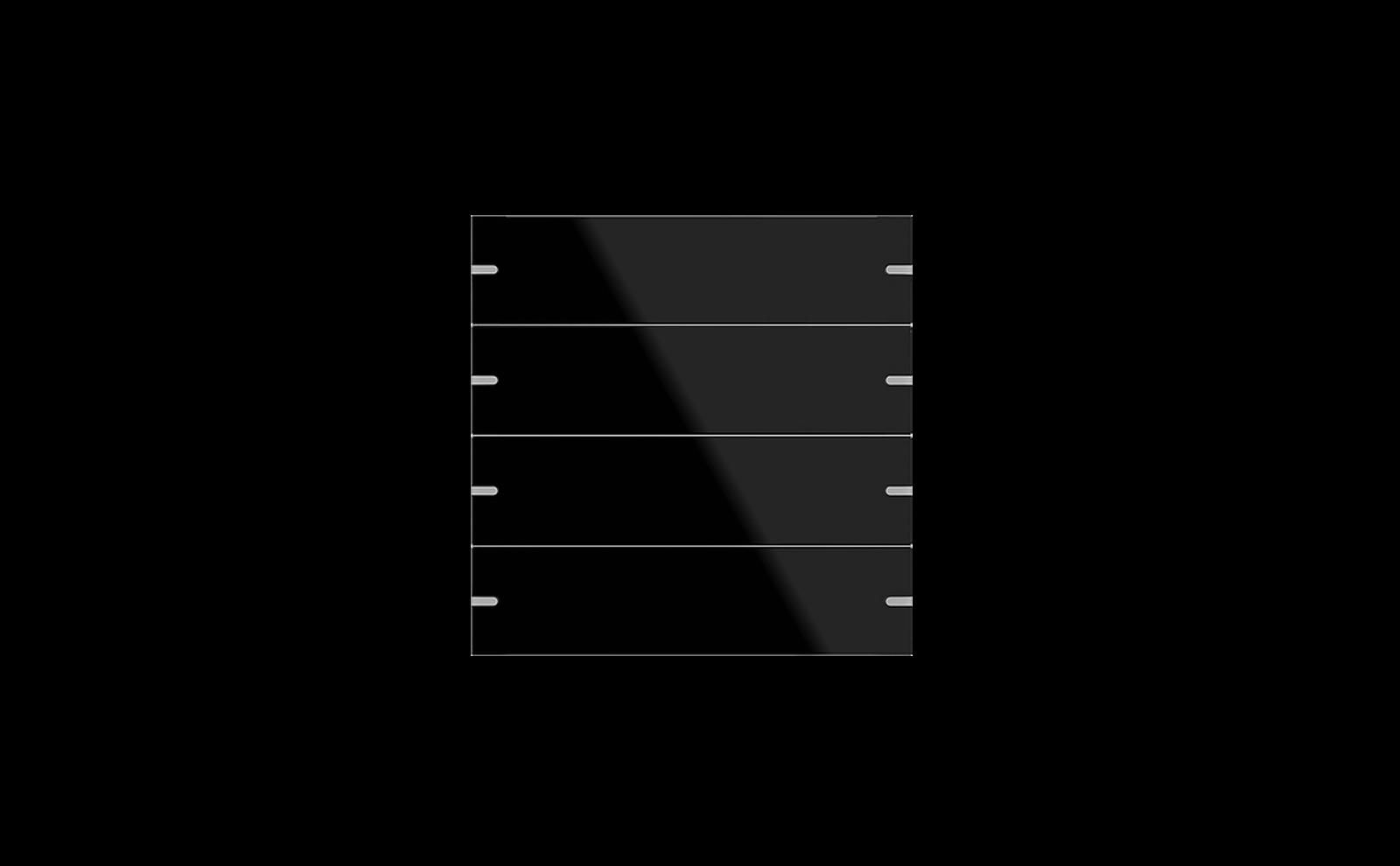 Gira Tastsensor 4 mit Wippenset 4fach in Glas Schwarz
