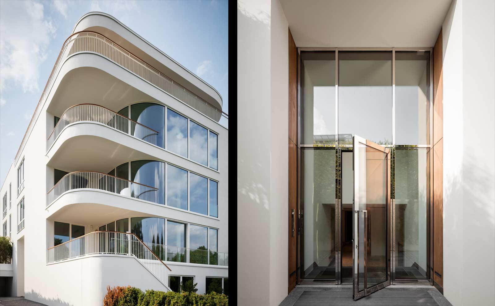 Eingangsbereich und Außenfassade der Hamburger Villa von BAID Architektur
