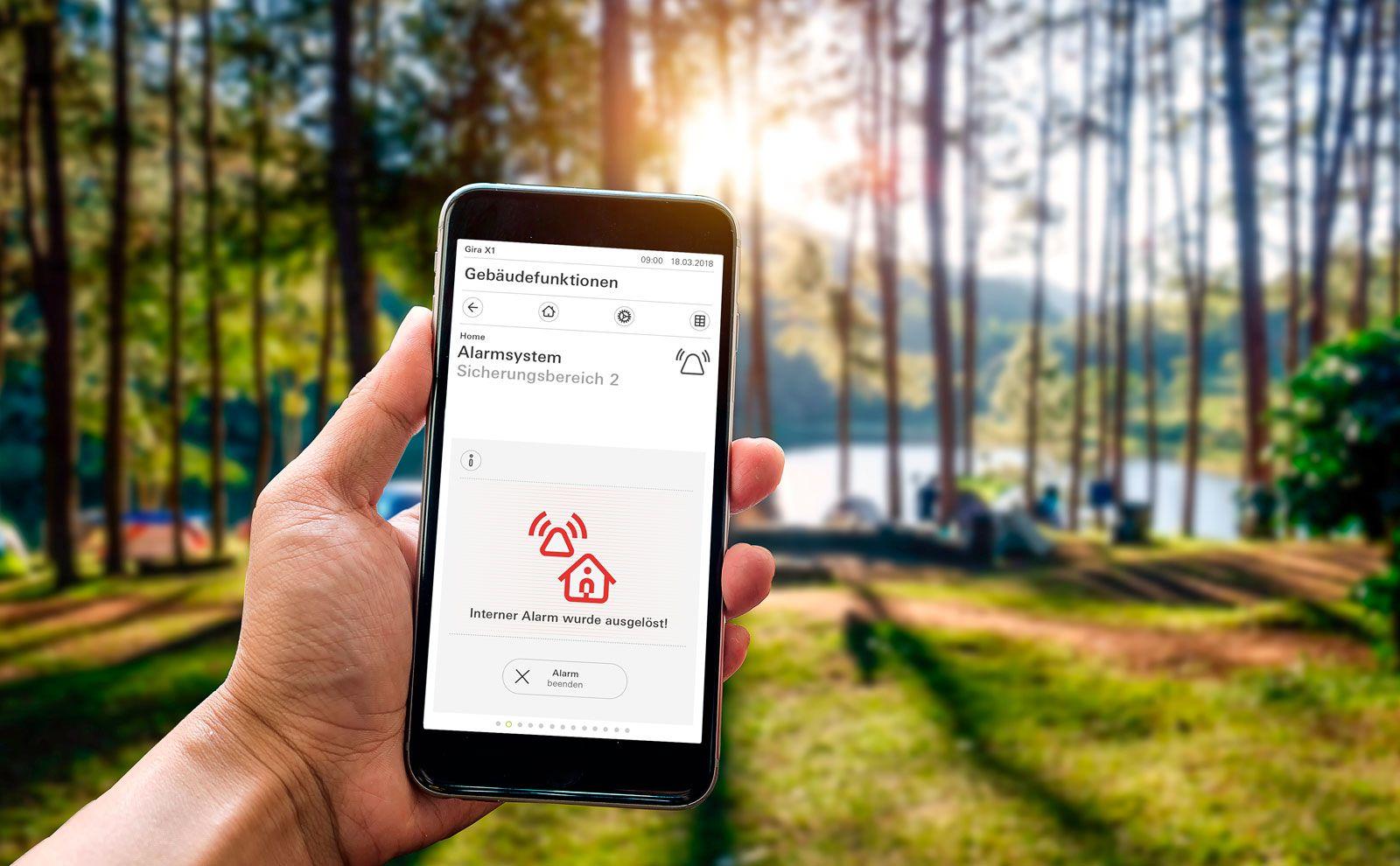 Gira Alarm Connect auf dem Smartphone