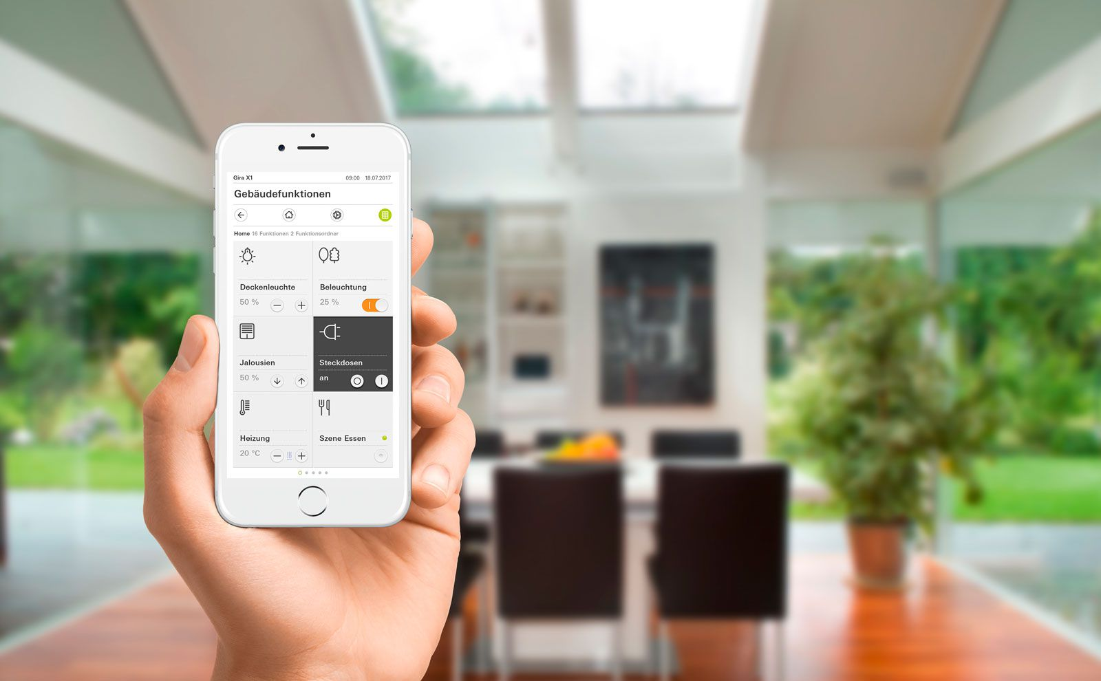 Gira X1 Smartphone App in der Bedienung