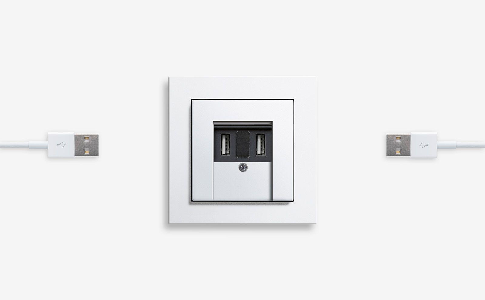 Gira USB-Spannungsversorgung 2fach, E2, Farbe Reinweiß glänzend
