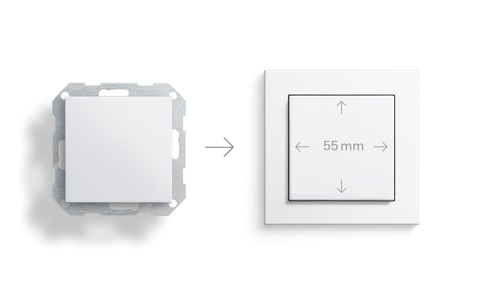 Schaltereinsatz mit Gira E2 Rahmen in weiß