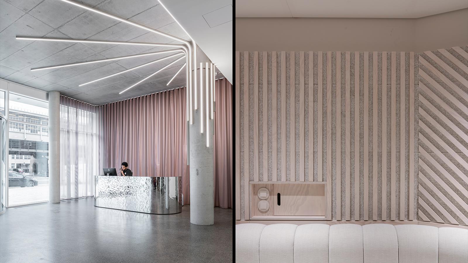 Headquarter Sony Music Group: Kühle Eleganz im Foyer und Weichheit im White Room mit Riesensofa.