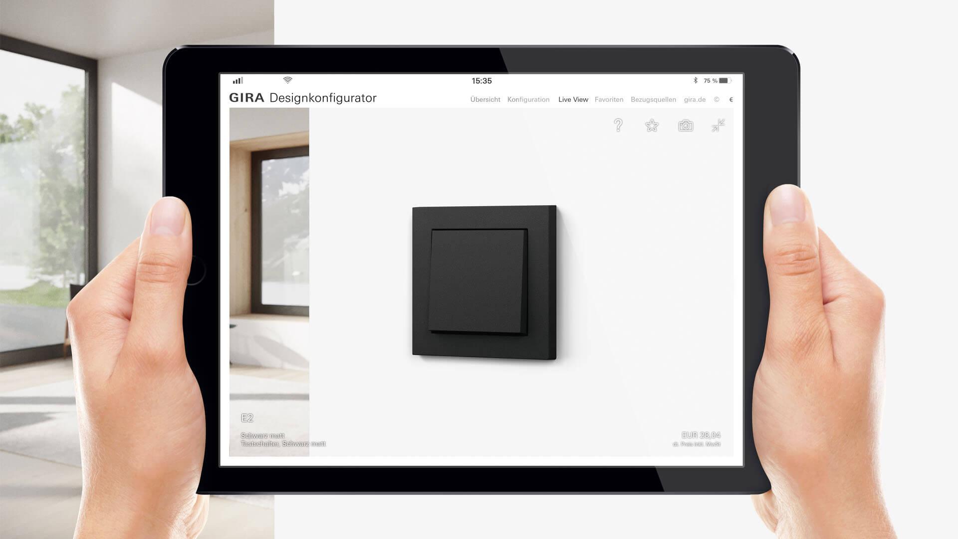 Gira Designkonfigurator auf Tablet