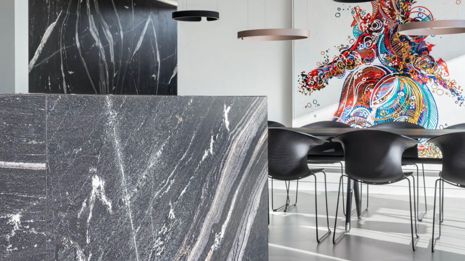 Granit in modernem Wohnhaus