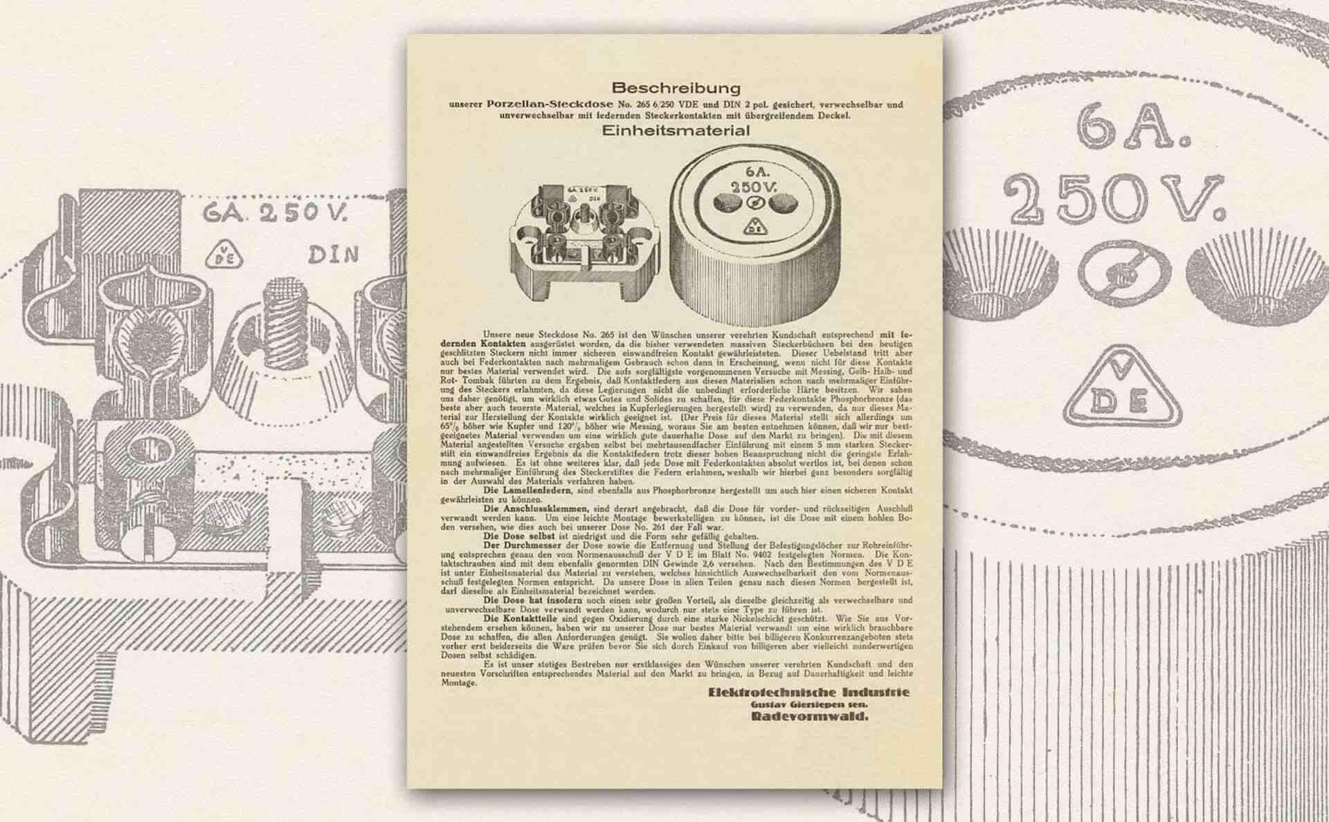 Gira Geschichte Unterlage Abbildung von Steckdose