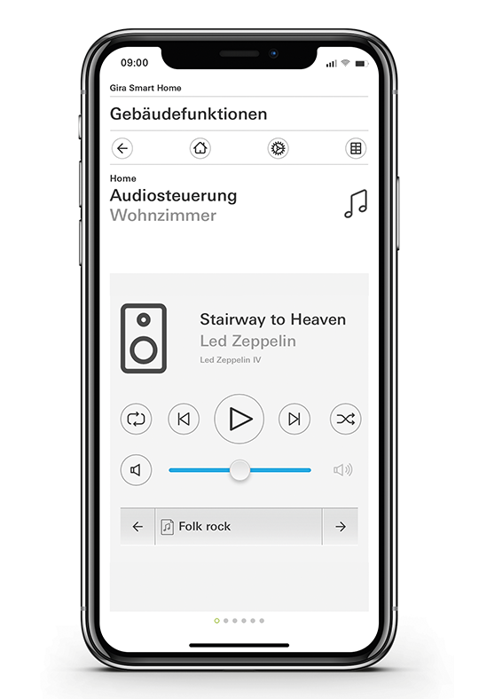 Gira Smart Home App Audiosteuerung