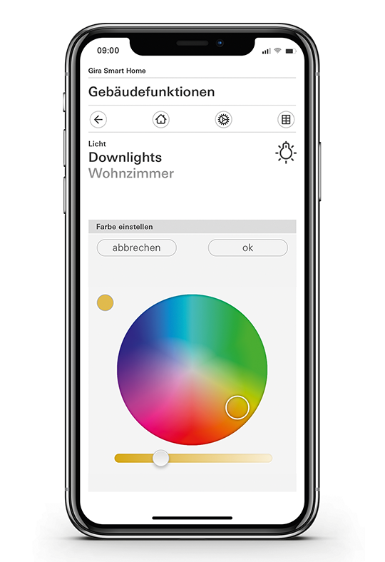 Gira Smart Home App Farblicht Color Picker
