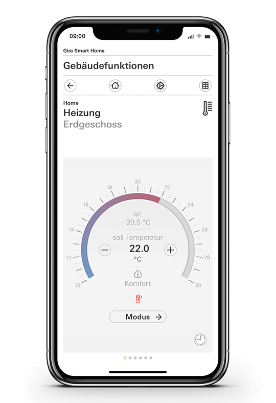 Gira Smart Home App Raumtemperatur einstellen