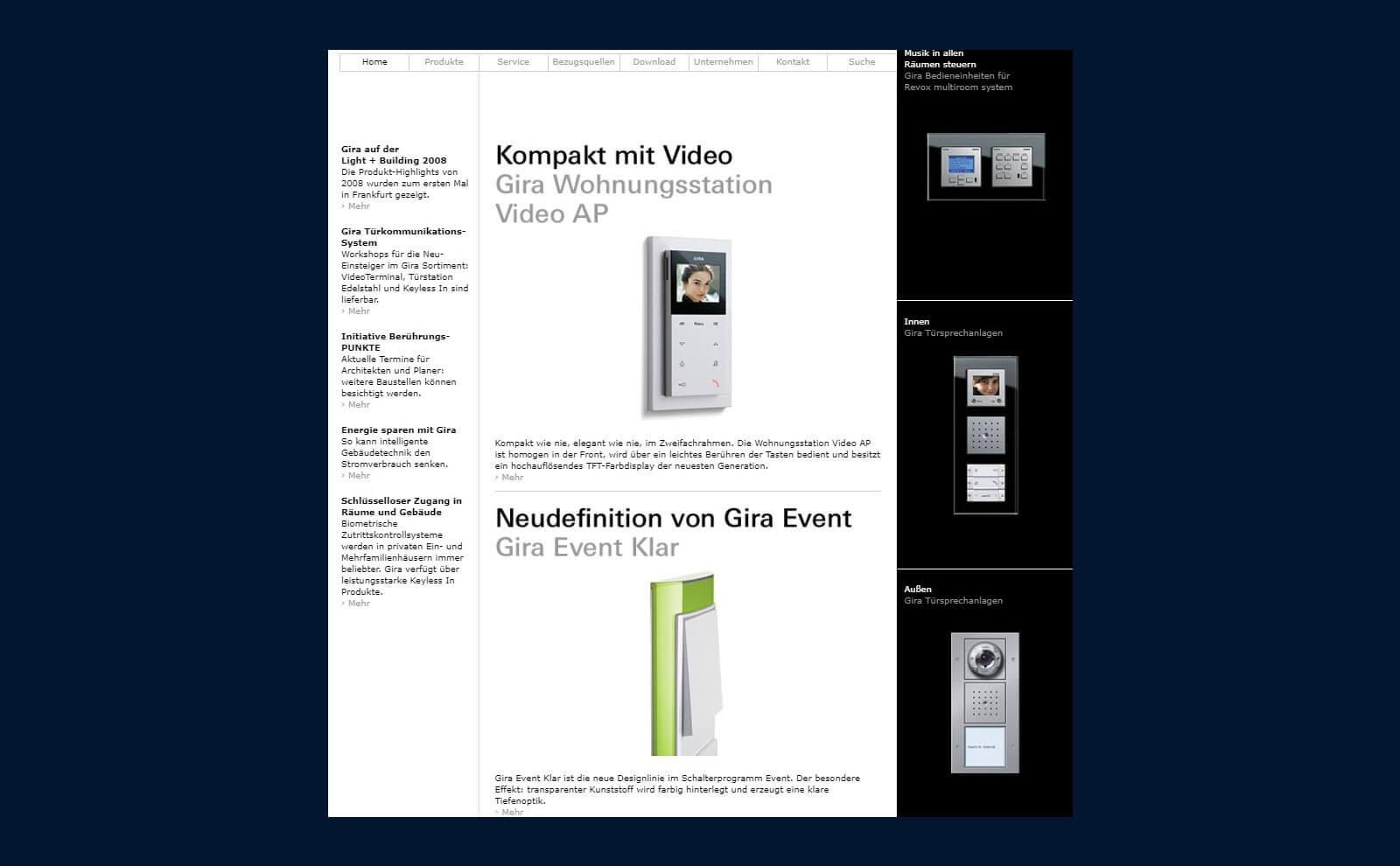 Gira Website Anfang der 2000er Jahre