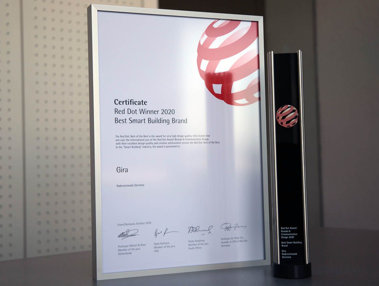 Gira Red Dot Award 2020 Best Smart Home Brand