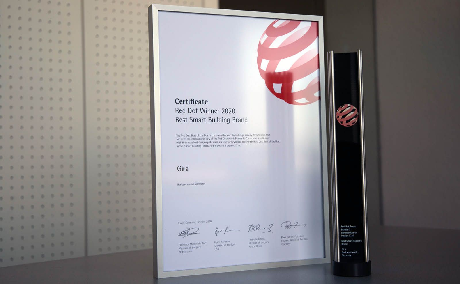 Gira Red Dot Award 2020 Best Smart Home Brand